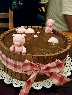Pig Birthday Cakes, Farm Birthday, Beautiful Cakes, Amazing Cakes, Dessert Original, Cute Baking, Pig Party, Farm Party, Farm Cake