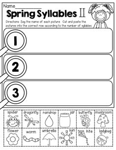 Spring Syllables!  (cut and paste)