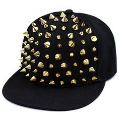 Studded Baseball Hat (20 BRL) ❤ liked on Polyvore featuring accessories, hats, snapbacks, caps, head, flat baseball caps, baseball cap, spike hat, snapback cap and flat cap hat