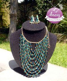 """Collar """"Cascada verde"""" hecho de cristales Moda Otoño/Invierno #dragon-fly #Aguascalientes #México"""