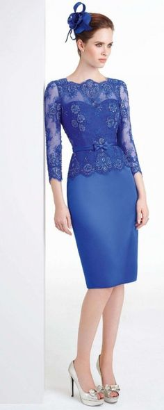 Elegant Knee Length Royal Blue Lace Mother of the Bride Pant Suits Dresses 2015 With Three Quarter Sleeves Short Evening Dresses