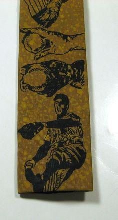 ROOSTER Rich Mustard Baseball Vintage Theme Novelty  Slim Skinny  Tie Very RARE #rooster #NeckTie
