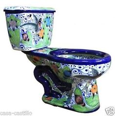 "Mexican Talavera Toilet Set Bathroom Handcrafted ""Hummingbirds"""