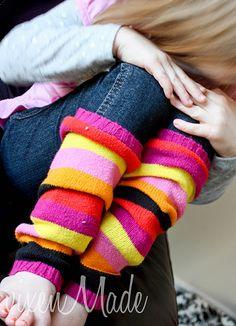 Leg Warmers From An Old Sweater (love the stripes)