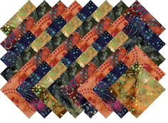 "BATIK VARIETY #8 COLLECTION 40 Precut 5"" QUILTING FABRIC SQUARES"