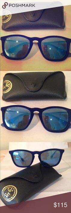 Ray-Ban 'Erika' blue velvet mirror sunglasses Ray-Ban Erika blue velvet sunglasses with mirror lens in great condition. Ray-Ban Accessories Sunglasses