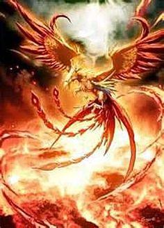 El fénix se podría describir como un ave rodeada de fuego que renace de sus cenizas. Aquí se puede ver una actitud guerrera
