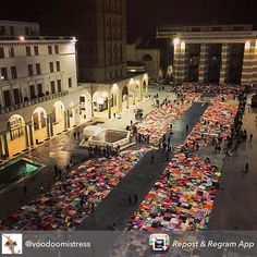 Repost from @voodoomistress . Jasmin Jones  my beloved friend  amazing  fremantle jeweller and crochet expert  is in Brescia for the Viva Vittoria installation . To Raise awareness of the global problem of violence against women  knitters and crocheteers have handmade squares 50x50cm  stitched them together and covered the piazza . Jasmin rallied women around fremantle to take part in this amazing project . Congratulations you did it! Jasmin  will be back in a couple of weeks for her weekly…