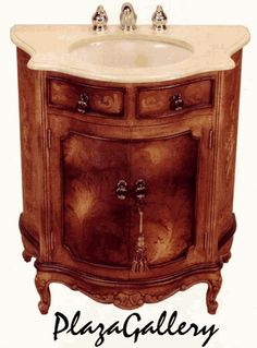 "32""W Fresco Brown Hand Painted Marble Top Bathroom Vanity"