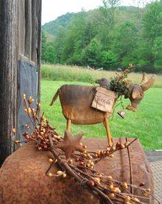 PDF EPattern Grungy Primitive Goat Crow in by CaneRiverCrafts, $8.00