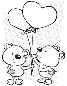 Valentine's Bears - Free Printable Coloring Pages