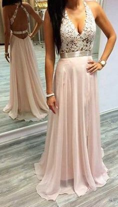 2017 Custom Made Pink Chiffon Prom Dress, Halter V-neck Party Dress,Sleeveless Prom Dress,high quality