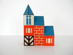 Set of 10 Vintage Scandinavian Style House Blocks. $24.00, via Etsy.