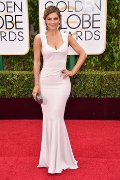 Maria Menounos Ivory Mermaid Prom Gown Golden Globes 2016 Red Carpet Ivory  Dresses 6d13f1a25