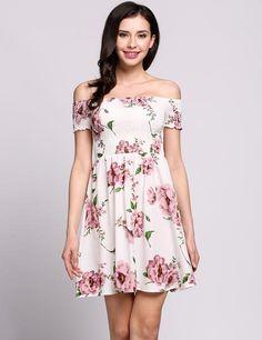 Off The Shoulder Slash Collar Floral Skater Short Dress