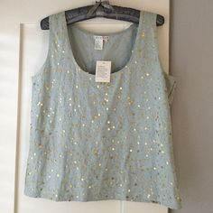 Beautiful embellished tank-style top Soft pale blue with gold sequins and gold chain-stitched threads. 95% cotton, 5%spandex   Never worn. Spanner Tops Camisoles