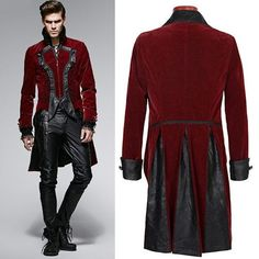 Antique Red Floral Velvet Victorian Gothic Dress Trench Coats Men SKU-11401803