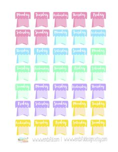 Free Weekday Flags Stickers for Erin Condren Planners - Wendaful