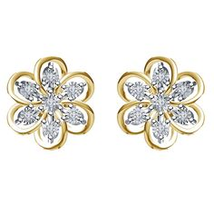 Round CZ Flower Stud Earrings with set