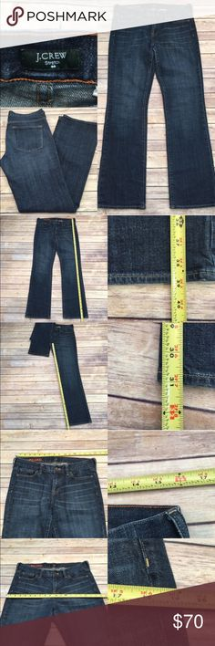 💌Size 31 J. Crew Hipslung Denim Bootcut Jeans Measurements are in photos. Normal wash wear, no flaws. A3  I do not comment to my buyers after purchases, do to their privacy. If you would like any reassurance after your purchase that I did receive your order, please feel free to comment on the listing and I will promptly respond. I ship everyday and I always package safely. Thanks! J. Crew Jeans Boot Cut