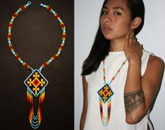 Huichol Ojo de Dios Necklace, Eye of God Necklace, Native American Style Beaded Necklace, Small Tribal Fashion Necklace, Huichol Jewelry Native American Beading, Native American Fashion, Native American Jewelry, Tribal Jewelry, Beaded Jewelry, Beaded Necklace, Good Luck Symbols, Beading Techniques, Tribal Fashion