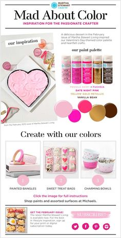 Martha Stewart Crafts Mad About Color - Valentine's Day Craft Ideas #marthastewartcrafts #madaboutcolor #plaidcrafts