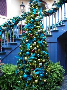 Blue and green decor for Christmas