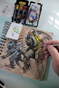 Muddy Colors: Sketchbook (These Earthbound sketchbooks are awesome and so is the., , Muddy Colors: Sketchbook (These Earthbound sketchbooks are awesome and so is the work of Mike Butkus). Sketchbook Inspiration, Art Sketchbook, Watercolor Sketchbook, Drawing Sketches, Art Drawings, Sketching, Illustration Manga, Watercolor Kit, Watercolor Paintings