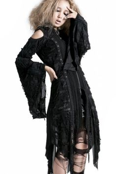 Misanthrope Corseted Black Knit Hooded Jacket  by Punk Rave