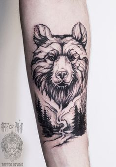 Bear tattoo on forearm blackwork by Elizaveta Ostanina Tattoo Sleeve Designs, Tattoo Designs Men, Sleeve Tattoos, Forearm Tattoos, Body Art Tattoos, Gun Tattoos, Ankle Tattoos, Arrow Tattoos, Word Tattoos