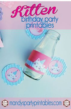 Free kitty party cupcake toppers, bottle wrappers, cupcake wrappers, invitation and more via Mandy's Party Printables