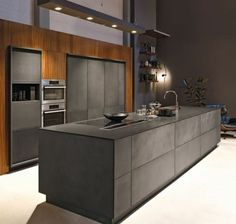 cuisine grise, ilot cuisine gris anthracite et meuble cuisine en anthracite et bois, cuisine chic, contemporaine