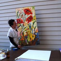 Poppies Provence Large Impressionist Original by Ginette Fine Art, $2200.00