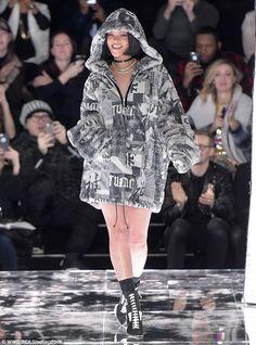 Rihanna builds an 'arctic urban forest' for Fenty x Puma New York Fashion Week show | Daily Mail Online Rihanna Fan, Rihanna News, Rihanna Style, Rihanna Outfits, Fashion Outfits, Puma Outfit, Goth Model, Hoodie Dress, Zip Hoodie
