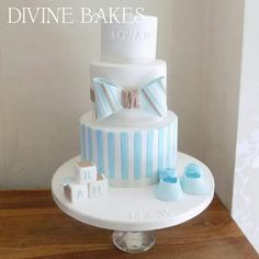 Baby boys Christening cake by Divine Bakes