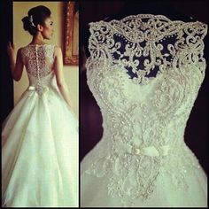 Ball gown silhouette with lace overlay on bodice