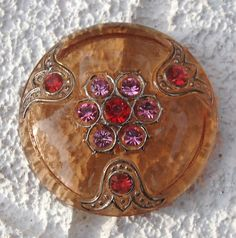 Czech Glass Button Bejeweled Peach Red by lookingglassbuttons, $6.50