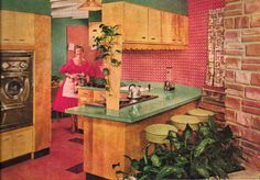 Beautiful open space retro 1950s kitchen. Click the image to learn how to give your kitchen a mid century makeover!  http://www.retrorealtygroup.com #retrokitchen