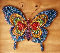 Wire and beads. Beaded Embroidery, Embroidery Stitches, Hand Embroidery, Embroidery Designs, Seed Bead Jewelry, Beaded Jewelry, Handmade Jewelry, Butterfly Jewelry, Butterfly Design