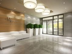 Gorgeous lobby. Love the planters and the accent wall