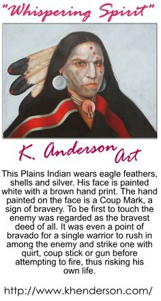 Original artwork of Plains Indian Warrior by Artist K. Anderson, original located at Hueys Fine Art,  Santa Fe, NM  87501      #indian_art_plains_indian_warrior_art, k_anderson_art_whispering_spirit, #hueys_fine_art_santa_fe_NM,