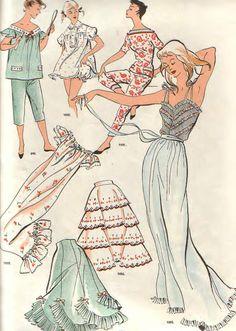 View album on Yandex. Nighty Night, Vintage Wardrobe, Historical Costume, Vintage Sewing Patterns, Sewing Ideas, Mode Inspiration, Lingerie Sleepwear, Chiffon Dress, Vintage Looks