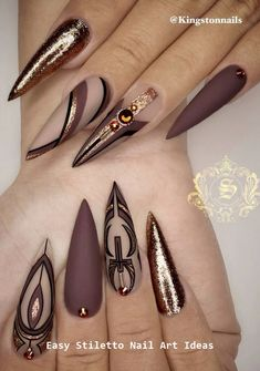 30 Great Stiletto Nail Art Design Ideas - Stylish Stiletto Nails - Best Nail World Fabulous Nails, Perfect Nails, Gorgeous Nails, Pretty Nails, Ongles Bling Bling, Bling Nails, Nail Swag, Nail Art Designs, Nagel Bling