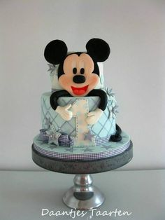 Soft blue and grey Mickey cake for a 1st birthday of a sweet little boy :-)