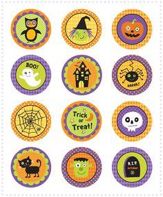 Halloween Cupcake Topper - One Happy Mama Halloween Cupcakes, Diy Halloween, Theme Halloween, Halloween Bottles, Halloween Cards, Holidays Halloween, Happy Halloween, Halloween Decorations, Halloween Printable