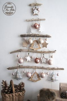 French country decor: vintage and antiques by BrocanteMaJolie This . - French country decor: vintage and antiques by BrocanteMaJolie This wall Christmas tree made of drif - Driftwood Christmas Tree, Wall Christmas Tree, Christmas Tree Themes, Rustic Christmas, Xmas Tree, Simple Christmas, White Christmas, Christmas Ornaments, French Christmas