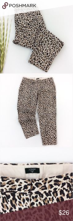 "J Crew Animal Print City Fit Pants Size 6 J Crew Multi Color Animal Print City Fit Ankle Pants Size 6 EUC.  Excellent condition!  98% cotton/2% spandex.  The fabric has a slight stretch to it.  Two front pockets and 2 back 'mini' pockets.  Measurements were taken with the pants laying flat unstretched:  16 1/2"" waist, 8 1/2"" rise, 20"" hips, 25 1/2"" inseam and 6 1/2"" cuff.  Multiply measurements by 2 where appropriate to get the full circumference where needed. #summer #spring #animalprint…"