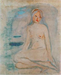 The sitting nude. Oil on canvas, 1913 Rodin, Oil On Canvas, Nude, Artist, Painting, Kunst, Artists, Painting Art, Paintings