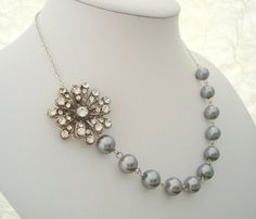 Bridal Necklace Gray Pearls Rhinestone Necklace by DivineJewel