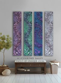 Midnight sky Abstract painting  4 panel CUSTOM by TwistOfUnique,